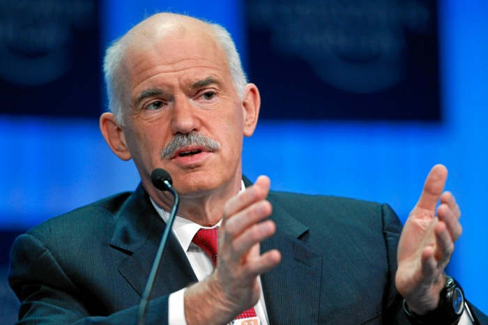 © World Economic Forum George A. Papandreou, Prime Minister of Greece, gestures during the session 'Europe: Back to the Drawing Board?' at the Annual Meeting 2011 of the World Economic Forum in Davos, Switzerland, January 27, 2011. Copyright by World Economic Forum swiss-image.ch/Photo by Moritz Hager