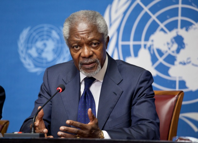 Joint Special Envoy Kofi Annan spoke with the media at the United Nations Office at Geneva following the June 30, 2012 Meeting of the Action Group for Syria. © US Mission in Geneva